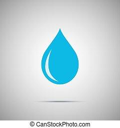 blue víz, csepp, vektor, ikon
