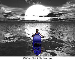 blue víz, woman ül, nap, fordulat, beállítás, szék