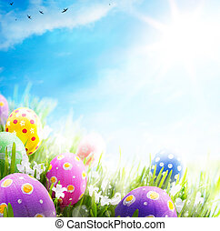 blue virág, színes, ikra, ég, háttér, díszes, fű, húsvét
