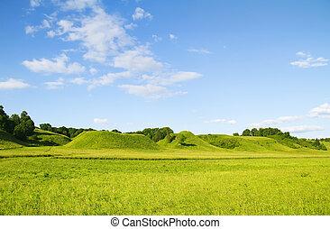 blue zöld, ég, hegy, felhős