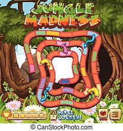 boardgame, sablon, elmebaj, dzsungel