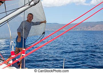 boat., vitorlázás jacht, -, fiatal, beállítás, figyelmetlen ember, vitorlázik, ember