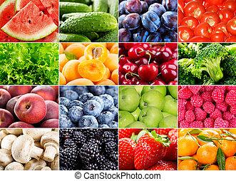 bogyók, füvek, növényi, gyümölcs, különféle