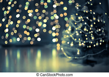 bokeh, fa, karácsony, háttér