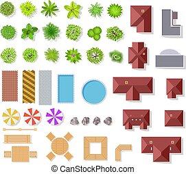bokrok, táj, vektor, antenna, épület, kilátás, elszigetelt, tető, pocsolya, bitófák, építészeti, állhatatos, terv, kutyát kiállít, zöld, elements., kert