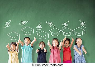 boldog, álló, csoport, fokozatokra osztás, izbogis, osztályterem, fogalom, multi-ethnic, gyerekek