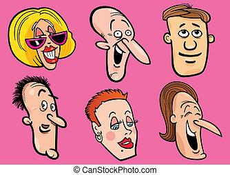 boldog, állhatatos, arc emberek