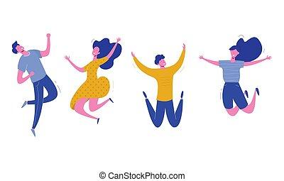 boldog, állhatatos, női, emberek, modern, fiatal, ábra, háttér., vektor, betűk, elegáns, white hím, ugrás