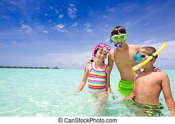 boldog, óceán, gyerekek