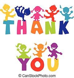 boldog, ön, fogalom, hálát ad, gyerekek