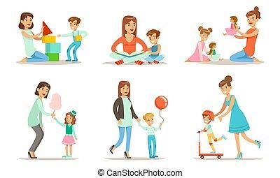 boldog, anyák, állhatatos, móka, ábra, vektor, birtoklás, -eik, élvez, játék, jó idő, gyerekek