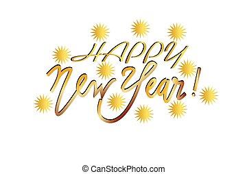 boldog, arany, új, háttér, vektor, év