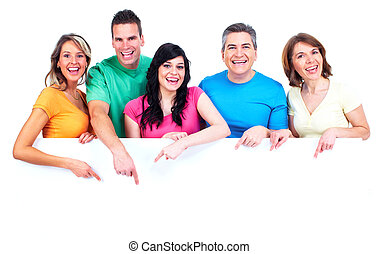 boldog, banner., csoport, emberek