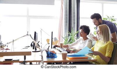 boldog, befog, számítógépek, hivatal, kreatív