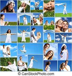 boldog, collage., emberek