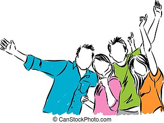 boldog, csoport, ábra, emberek