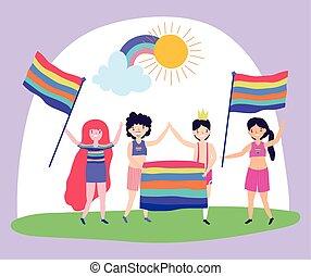 boldog, csoport, férfiak, büszkeség, nők, szivárvány, zászlók, dísz, lgbt, közösség