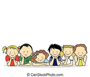 boldog, csoport, gyerekek