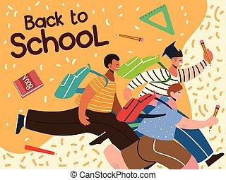 boldog, diákok, út fogad, fiú, izbogis, tanul, oktatás