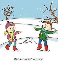 boldog, dob, gyerekek, játék, snowbal