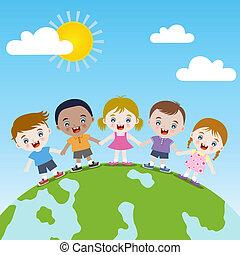 boldog, együtt, földdel feltölt, gyerekek