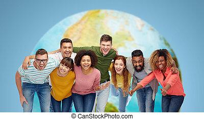 boldog, emberek, csoport, nemzetközi, mosolygós
