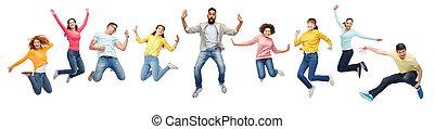 boldog, emberek ugrás, csoport, nemzetközi