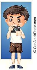 boldog, fényképezőgép, digitális, fiú