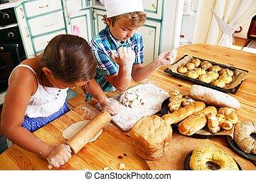boldog, főzés, cukrászsütemény, házi készítésű, gyerekek