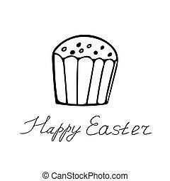 boldog, felirat, húzott, style., torta, kéz, húsvét