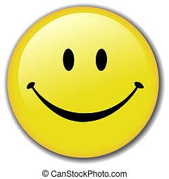 boldog, gombol, smiley, jelvény, arc