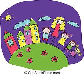 boldog, gyerekek, ábra, tanár