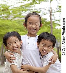 boldog, gyerekek, ázsiai