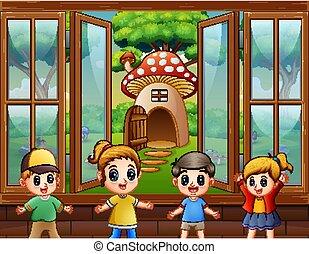 boldog, gyerekek, épület, játék