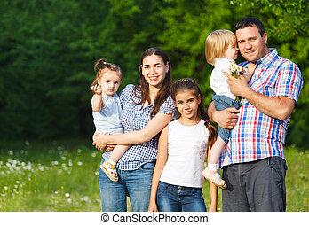 boldog, gyerekek, család, fiatal
