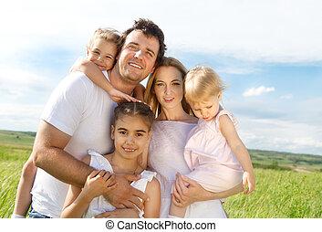 boldog, gyerekek, három, család, fiatal