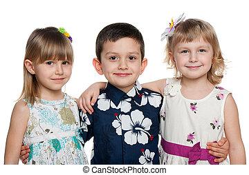 boldog, gyerekek, három