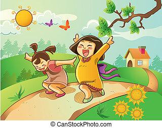 boldog, gyerekek, kert, játék