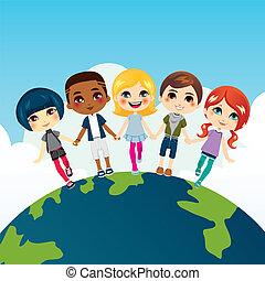 boldog, gyerekek, multi-ethnic