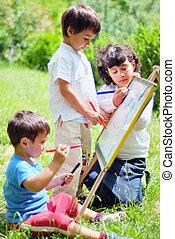 boldog, gyerekek, rajz, játék