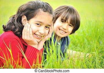 boldog, gyerekek, természet