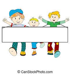 boldog, gyerekek, transzparens, karikatúra, tiszta