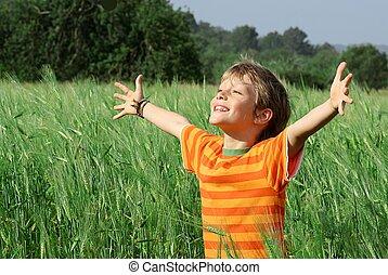boldog, gyermek, nyár, egészséges