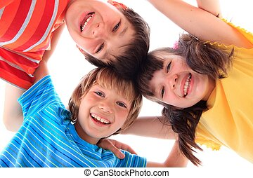 boldog, három gyerek