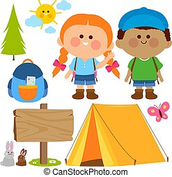 boldog, házhely., gyerekek, kempingezés, vektor, állhatatos, ábra