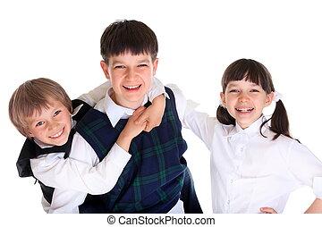 boldog, iskolások