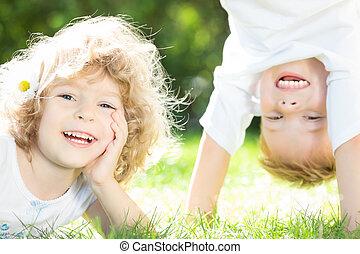 boldog, játék, gyerekek