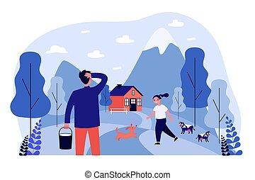 boldog, játék, kutya, falu, leány, hegy