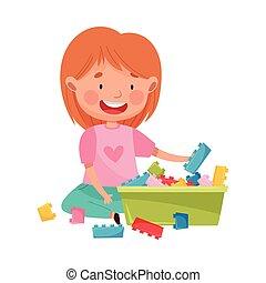 boldog, játékszer, ülés, emelet, szerkesztés, leány, gyerekszoba, játék, vektor, ábra