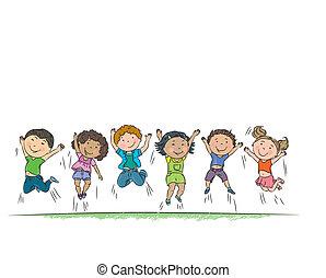 boldog, jumping., gyerekek